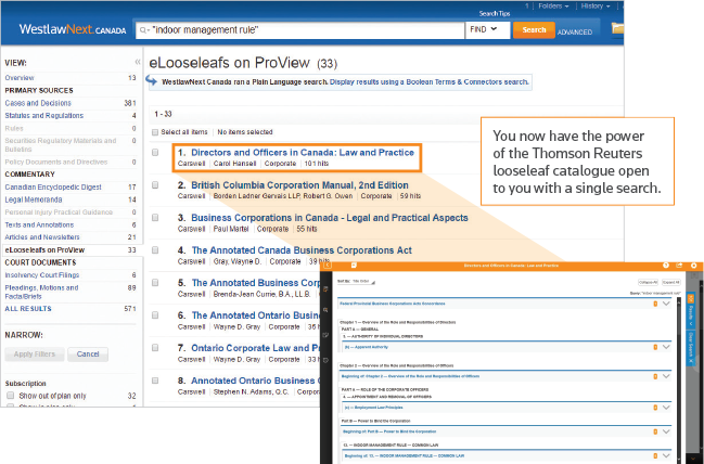 Secondary Sources: Thomson Reuters looseleaf catalogue