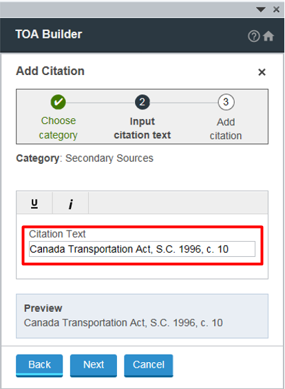 Input Citation Text